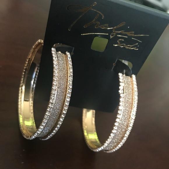 b82491f7106d6 New Thalia Sodi gold embellished hoop earrings NWT